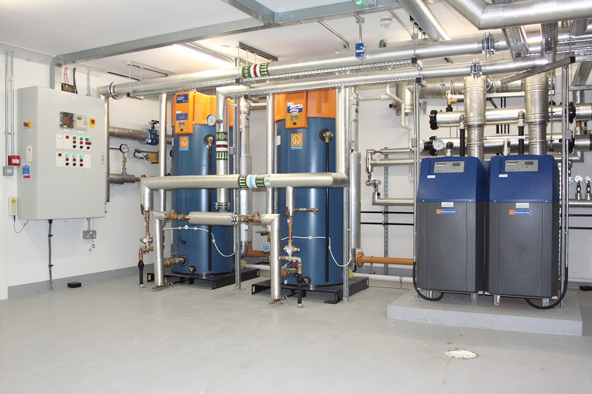 newly fitted boiler system inside of care home
