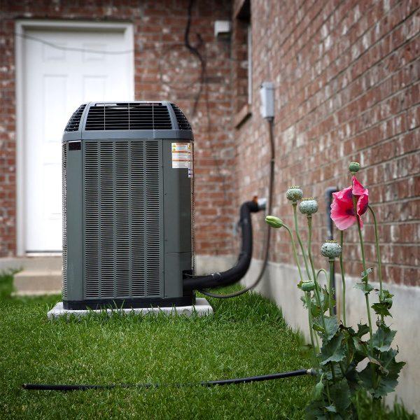 air conditioning unit in garden