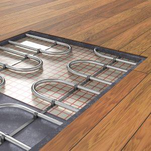 under floor heating system underneath wooden floorboards