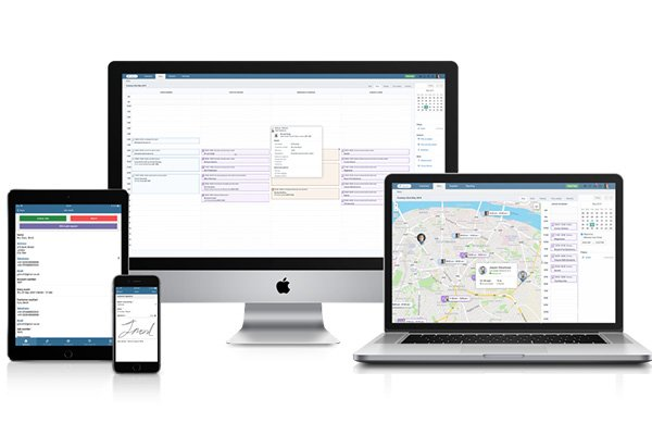 commusoft interface on tablet, desktop, laptop and mobile